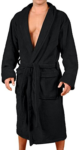 Wanted Men's Lounge Bathrobe Plush Micro Fleece with Front Pockets (Black, Small/Medium) -