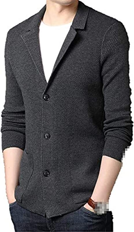 Winter Men's Casual Cardigan Sweater Pockets Button Male Solid Color Knitwear Thick Warm Coats,Shnehui,3X-L: Odzież