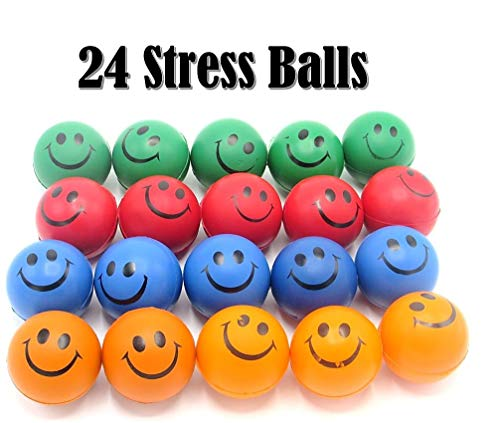 Dazzling Toys 24 Pack Stress Balls Neon Smile Face Relaxable Squeeze Balls (2 Dz) | Assorted Colors