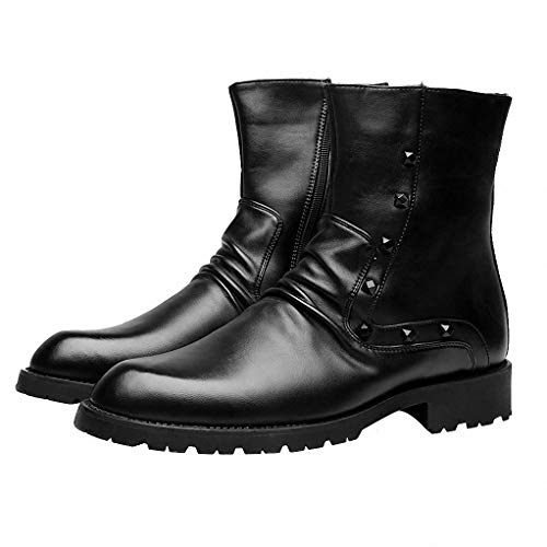 Jump Steel Toe Boots (Giles Jones Men's Motorcycle Boots Autumn Winter Classic Non-Slip Breathable Combat Boots)