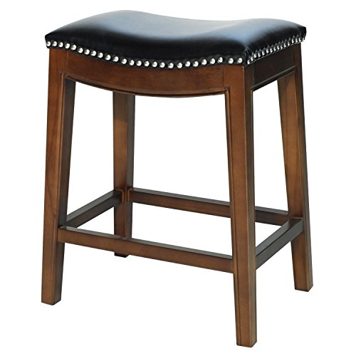 Birch Kitchen Island - New Pacific Direct Elmo Bonded Leather Counter Stool,Cinnamon Brown Legs,Black