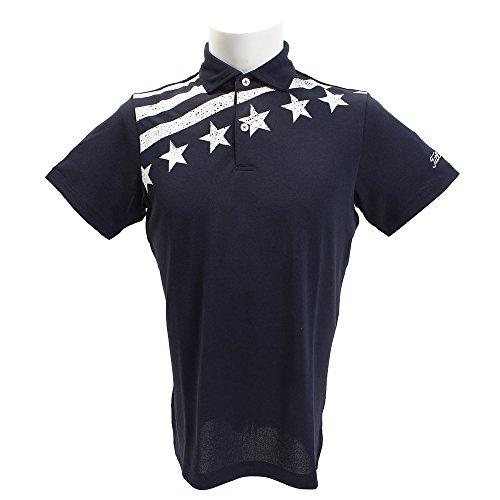 タイトリスト TITLEIST 半袖シャツ?ポロシャツ 星ストライプ ストレッチ鹿の子半袖ポロシャツ ネイビー LL