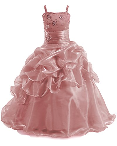 Yucou Long Beading Ball Gown Formal Party Dress Flower Girl Scoop with Straps Sequins Pageant Dresses Blush,Size 3 -