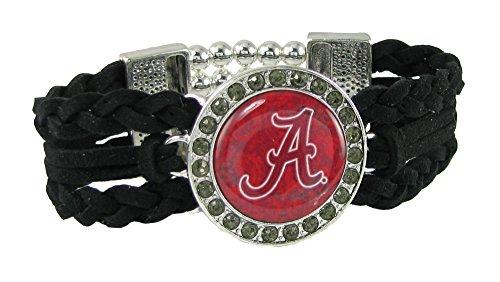 - Sports Accessory Store Alabama Crimson Tide Multi Braided Black Leather Crystal Bracelet Jewelry UA Red