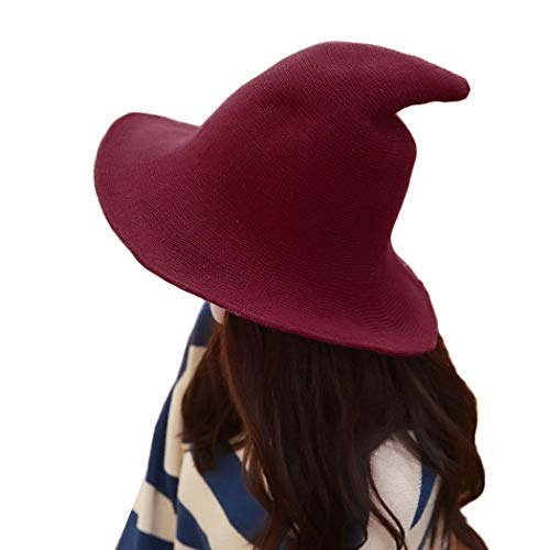DELAISUS Witch Hat Sheep Wool Christmas Halloween Foldable Costume Ball Sun Cap for Winter Wine Red -