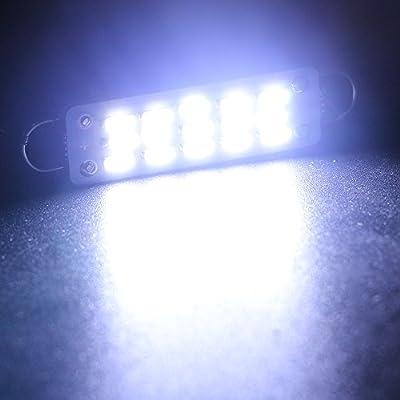 EverBrightt 4-Pack Cool White 44MM 4014 15SMD Rigid Loop LED Festoon Dome Light Auto Car Door Light Trunk Light: Automotive