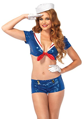 Leg Avenue Women's Sexy Sailor Romper Pinup Costume, Blue, Medium]()
