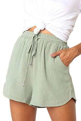 CILKOO Women's Casual Drawstring Elastic Waist Solid Comfy Cotton Linen Beach Shorts with Pocket Green US4-6 Small