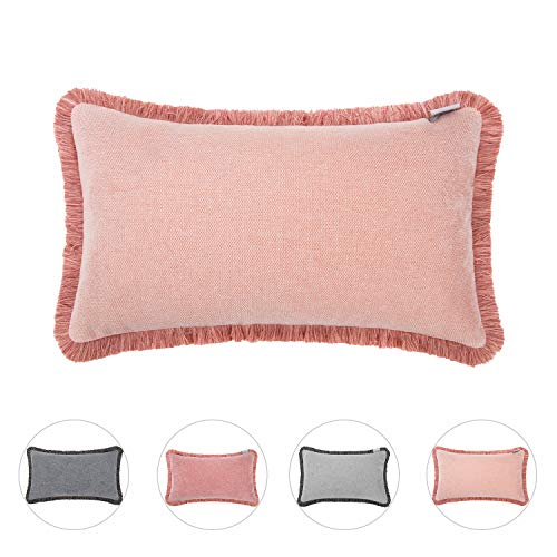 Hahadidi Cozy Decorative Throw Pillow Cover with Tassel Farmhouse Rectangle/Oblong Pillowcase Chenille Cushion Case Covers for Car/Bed/Sofa/Couch,Light Pink,14x24