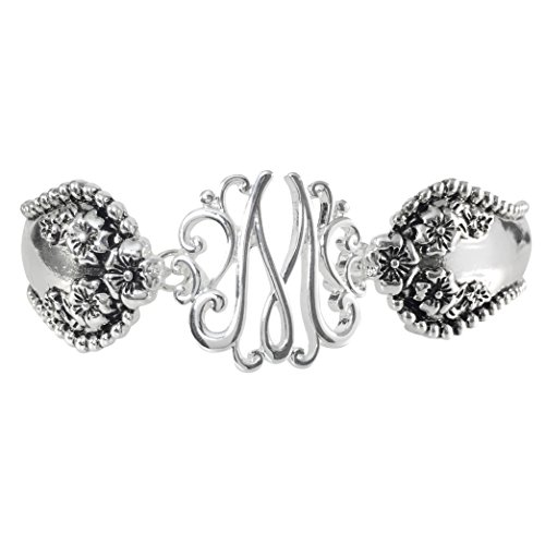 Gypsy Jewels Spoon Handle Style Monogram Initial Silver Tone Magnetic Clasp Bracelet (Letter M)
