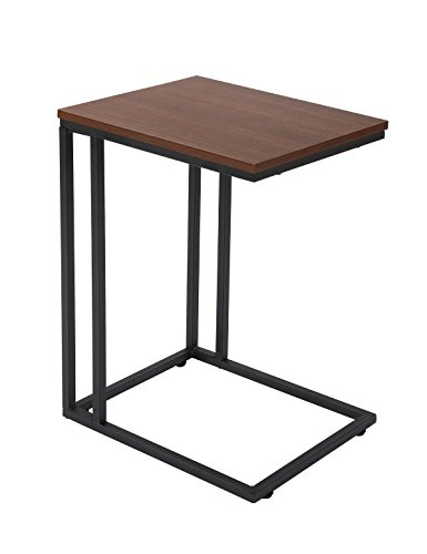FIVEGIVEN Accent Sofa Couch Side Table Slide Under for Living Room Wood and Metal Espresso 22.4 Inch (Under Tables Couch)