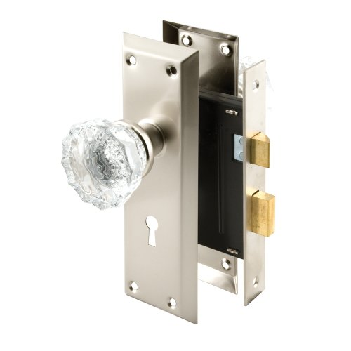 (Defender Security E 2496 Mortise Keyed Lock Set with Glass Knob - Perfect for Replacing Antique Lock Sets and More, Fits Doors with 2-3/8