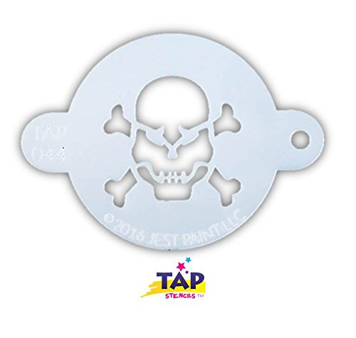 TAP 044 Face Painting Stencil - Skull with Crossbones (Skull Face Painting For Halloween)