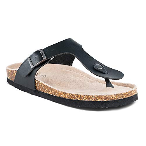 TF STAR Women's Thong Flip Flop Flat Casual Cork Sandals with Buckle Strap,Leather Cork Gizeh Sandals for Women/Girls/Ladies Black ()