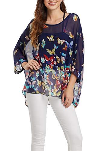 - LeaLac Women's Chiffon Caftan Poncho Tunic Top Cover up Batwing Blouse L276-4368