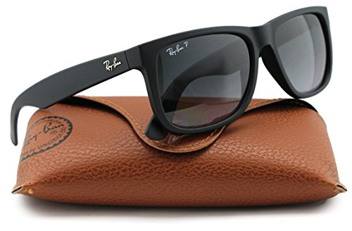 Ray-Ban RB4165 Justin Polarized Sunglasses Matte Black w/Grey Gradient (622/T3) 4165 622T3 55mm - Black Justin