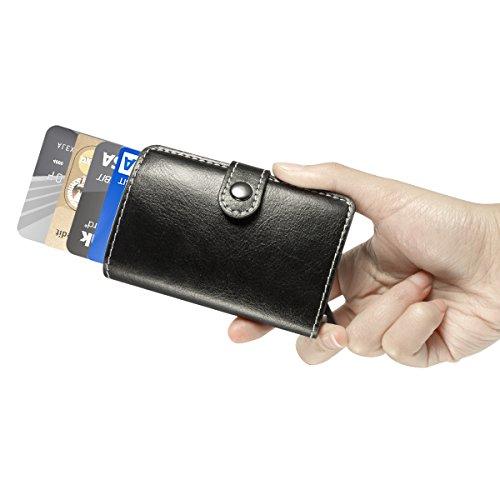 ManChDa Mens Mini Wallet Leather Slim RFID Safe Business Card Holder - Porte carte aluminium