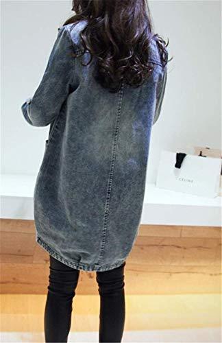 Con Moda Unico Strappato Button Tasche Giubbino Autunno Blau Eleganti Jeans Vintage Donna Semplice Outerwear Solidi Cappotto Colori Denim Manica Primaverile Jacket Lunga Glamorous qqxOZpTw