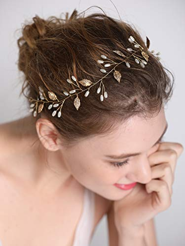 fxmimior Wedding Bridal Vintage Leaf Headband Headpiece Tiara Bride Hair Accessories (gold)