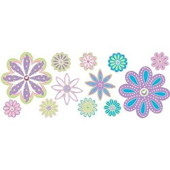Amazoncom Flower Wall Decal Stickers Pink Purple Yellow