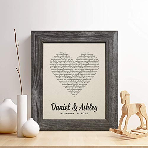 (Personalized 2nd Cotton Anniversary Gift for Him or Her, First Dance Song Cotton Print, Wedding Vow Cotton Print, any Text, Gifts for Husband and Wife, 2 Years Together)