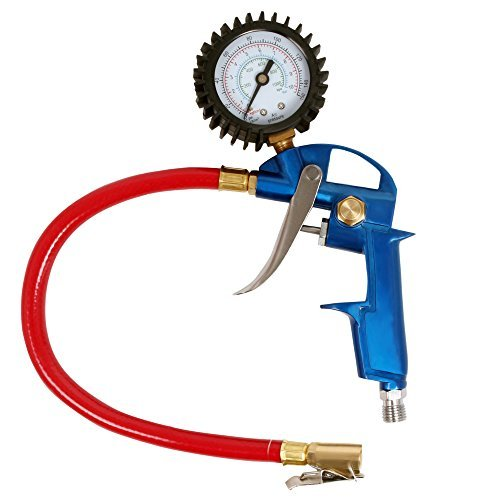 Wonderoto Tire Inflator with Gauge,Maximum 150 Psi- Inflation Gun with Locking Chuck-Color Blue and Red