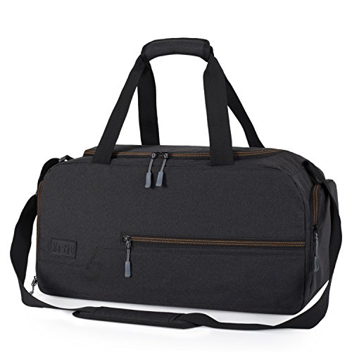 MarsBro Water Resistant Sports Gym Travel Weekender Duffel Bag with Shoe Compartment Black