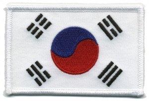 Korea Flag - Patch White Border (Iron-On), Size 3-1/2x2-1/4