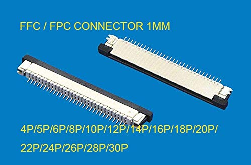 Davitu 10pcs FFC/FPC connector 1mm 4 Pin 5 6 7 8 10 12 14 16 18 20 22 24 26 28 30P Drawer Type Ribbon Flat Connector Top Contact - (Pins: 6P, Insert Type: Upper contact)