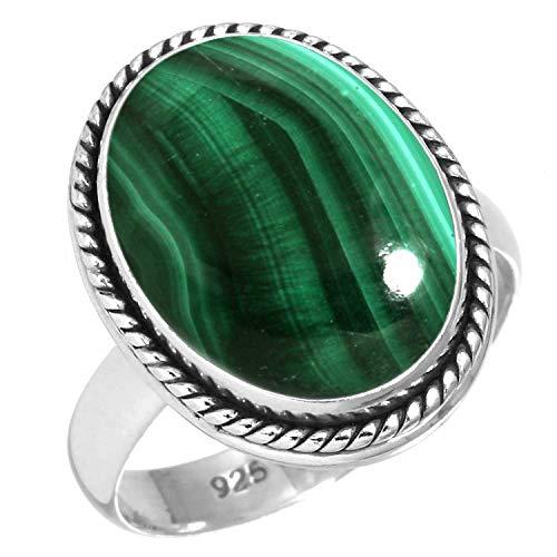 - 925 Sterling Silver Women Jewelry Natural Malachite Ring Size 7.5