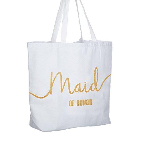 ElegantPark Maid of Honor Tote Bag Wedding Bridesmaid Gifts