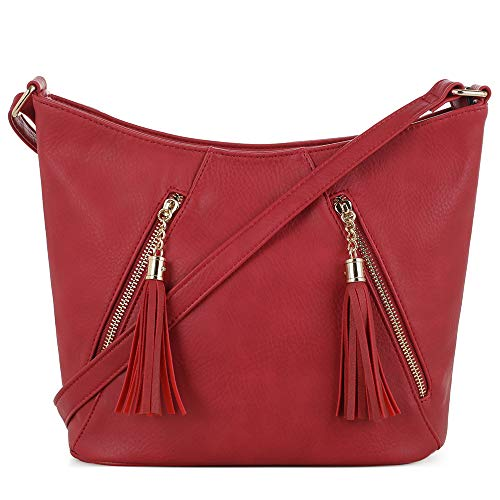 DELUXITY | Crossbody Hobo Slouch Bucket Purse Bag | Functional Multi Pocket with Tassel | Adjustable Strap | Red
