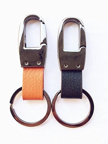 (Leather Valet Key Chain,Key Ring Holder, Heavy Duty Hardward Belt Clip Key Ring--2pack)