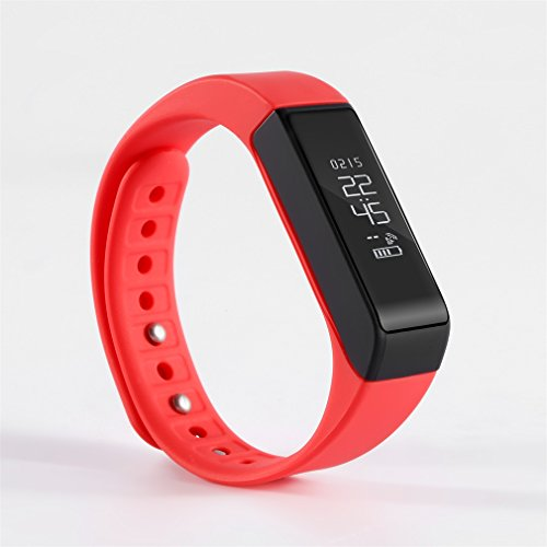 Activity Tracker LESHP I5 Plus Fitness Wristbands Tracker Waterproof Smart Bracelet Bluetooth 4.0 Wireless Activity Wristband for iPhone Android Phone (Red)