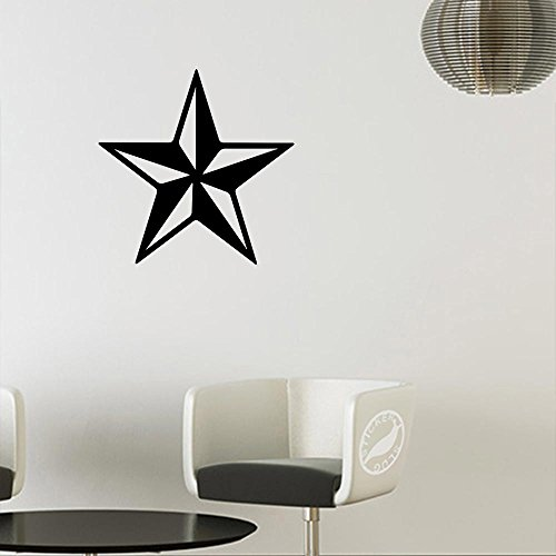 Rock Star Matte - Nautical Punk Rock Star Decal Sticker (matte black, 11 inch)