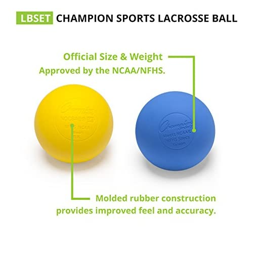 Champion NCAA//NFHS Official Size Rubber Multicolored Lacrosse Ball 4-Pack