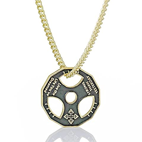 Fitness dumbbell weight plate barbell pendant sports fitness necklace 23 inch stainless steel chain four colors (Gold Plate Chain Necklace)