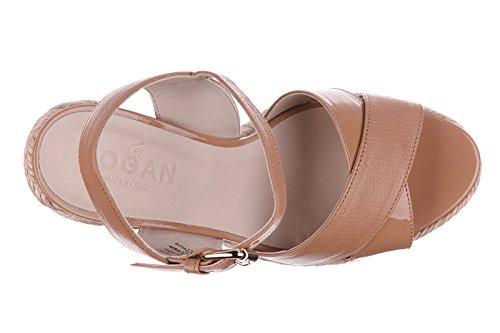 Hogan zeppe sandali donna in pelle h286 beige