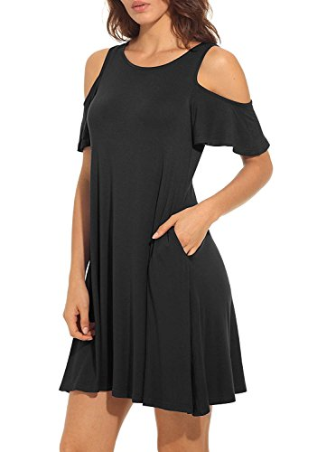 MIDOSOO Women's Cold Shoulder Tunic Top with Pockets Casual Swing Loose T-Shirt (Chain Tunic)