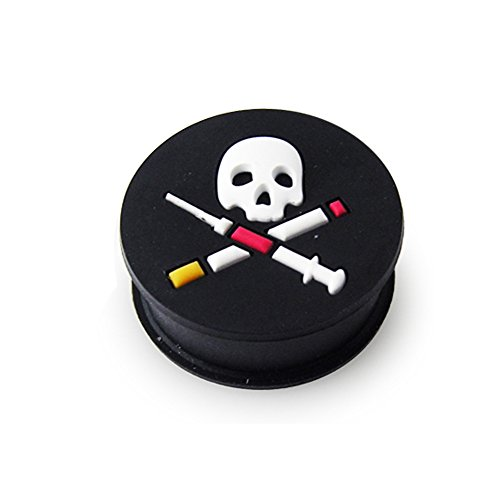 4g Syringe (9/16 Inch - 14MM Embossed Skull with Syringe on Soft and Flexible Black Silicone Double Flared Ear Plugs)