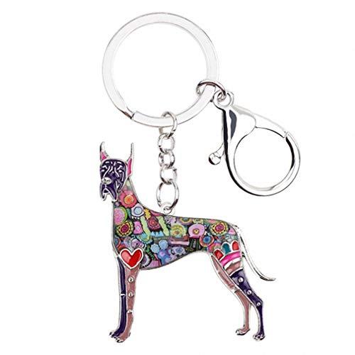 (Kytrun Animal Enamel Great Dane Dog Key Chains Women Keyrings Gift for Girl Handbag Charms Keychains Car Key Charms Jewelry Purple)
