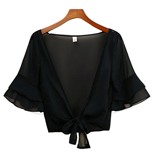 Womens Half Sleeve Bolero Jacket Shrug Short Cardigan Dress Cover Up Black (Beaded Crop Jacket)