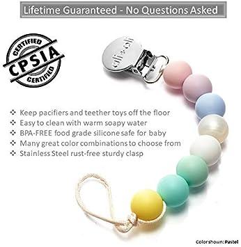 Ali+Oli clip de Modern para chupete Philips Avent 100/% BPA perlas de silicona libres natural color del sostenedor binky 2-in-1 para reci/én nacido