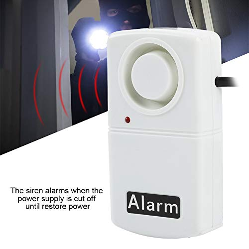 Power Warning Alarm,CN Plug 220V Automatic Power Failure Alarm LED Strobe Light Indicator Smart 120db Outage Alarm Warning Siren