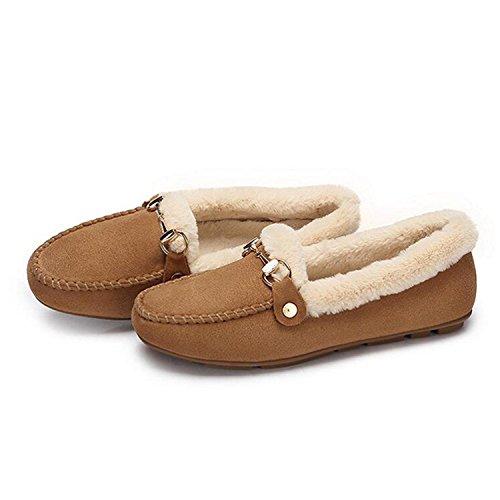 Camouflage Dames Mocassin Pile-lined Slipper Rijden Mocassin Casual Loafers Bootschoenen Bruin