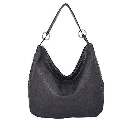 Haute für DIVA Damen mit Nieten besetzt Hobo-Tasche - Schwarz, Large Grau