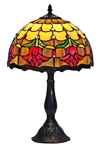 Glass Glass Stained Table Lamp (Amora Lighting AM1094TL12 Tiffany Style Stained Glass Table Lamp Tulip Flower Design)