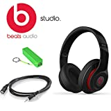 Beats By Dr. Dre Studio Over-ear Headphones (Second Generation, Black) Kit Includes 3.5 Mm Male/female Stereo Audio Extension Cable Black, and Universal Usb Battery Charger