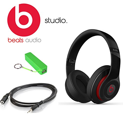 Beats By Dr. Dre Studio Over-ear Headphones (Second Generation, Black) Kit Includes 3.5 Mm Male/female Stereo Audio Extension Cable Black, and Universal Usb Battery Charger by best online service