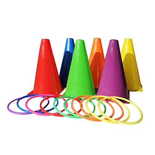 (LIOOBO Carnival Ring Toss Game Family Parent-Child Cone Tossing Early Educational Party Toy 6pcs Cones 10pcs Rings)